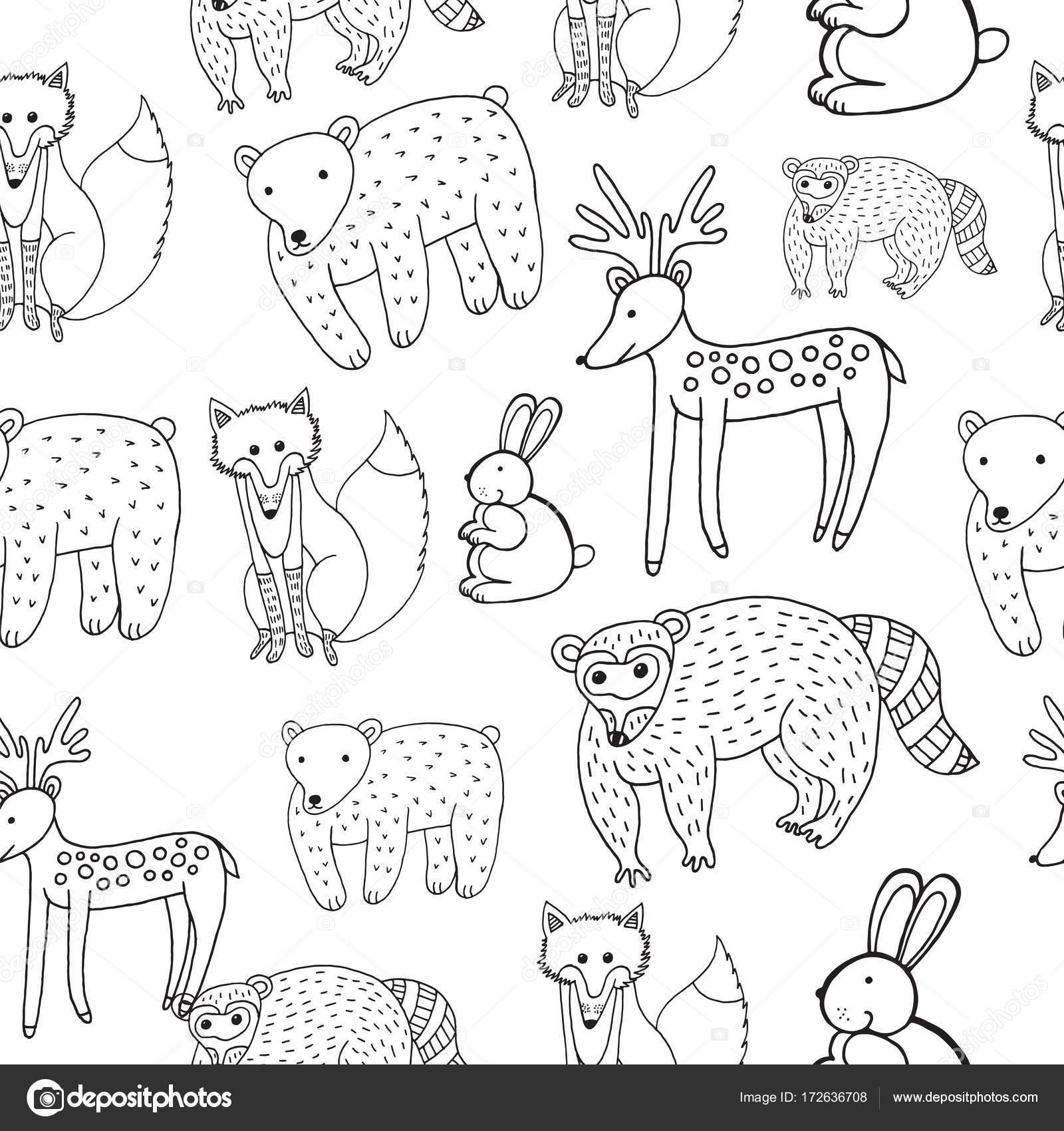 Dibujo de animales - de patrones sin fisuras a los niños. Página ...