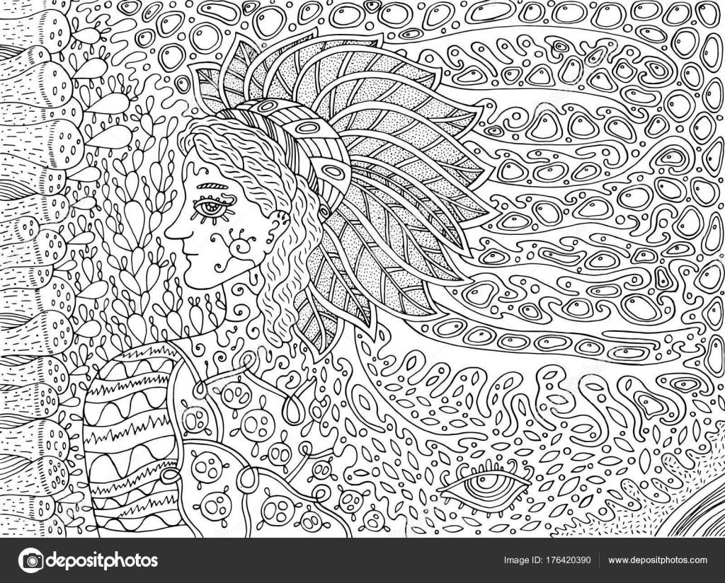 шаманская лесной дух рисунок мультфильм раскраски страницы