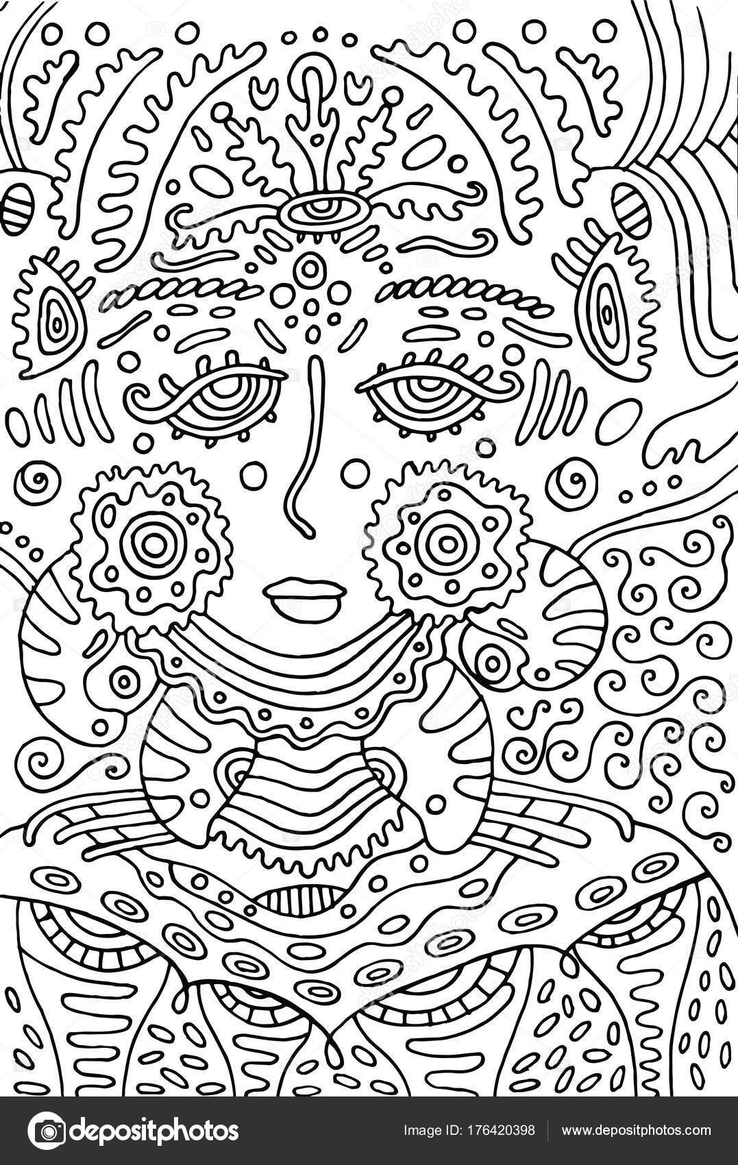 Chica diosa alienígena. Página para colorear de Doodle para adultos ...