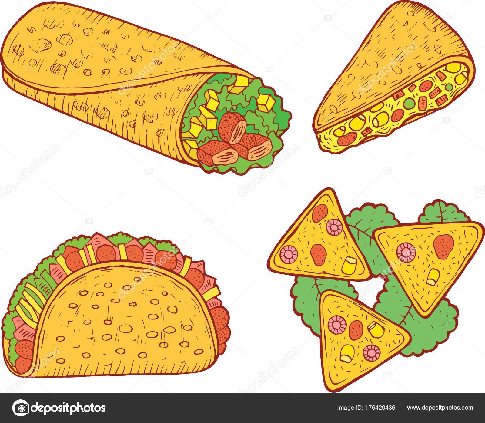 Set de comida mexicana. Arte de dibujos animados del doodle gráfico ...