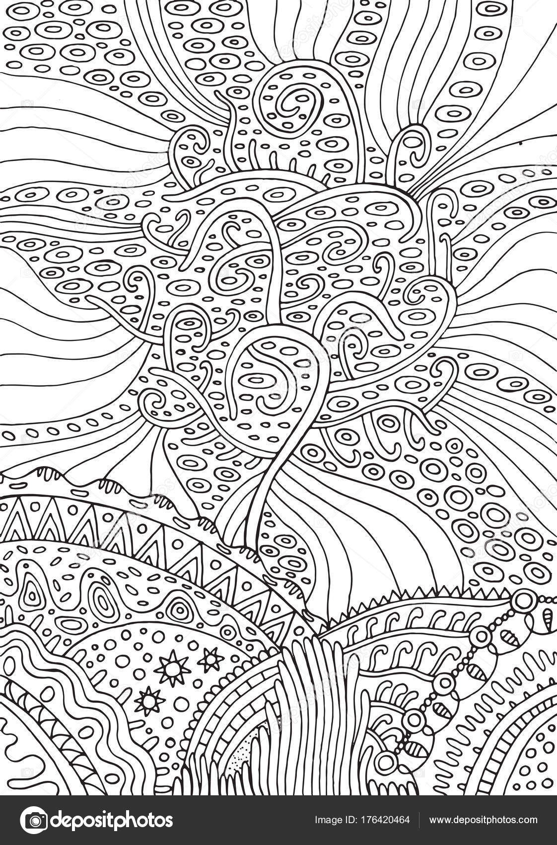 Arco iris árbol de la vida. Página para colorear de fantasía ...