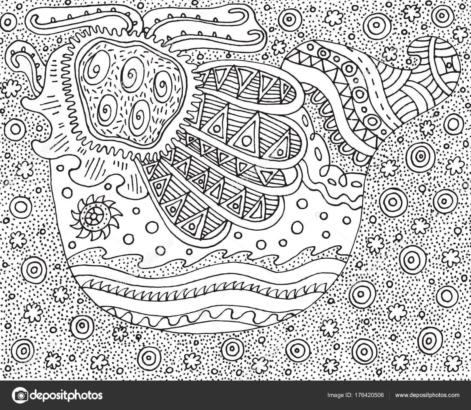 Doodle del pájaro. Página para colorear de estilo surrealista y ...