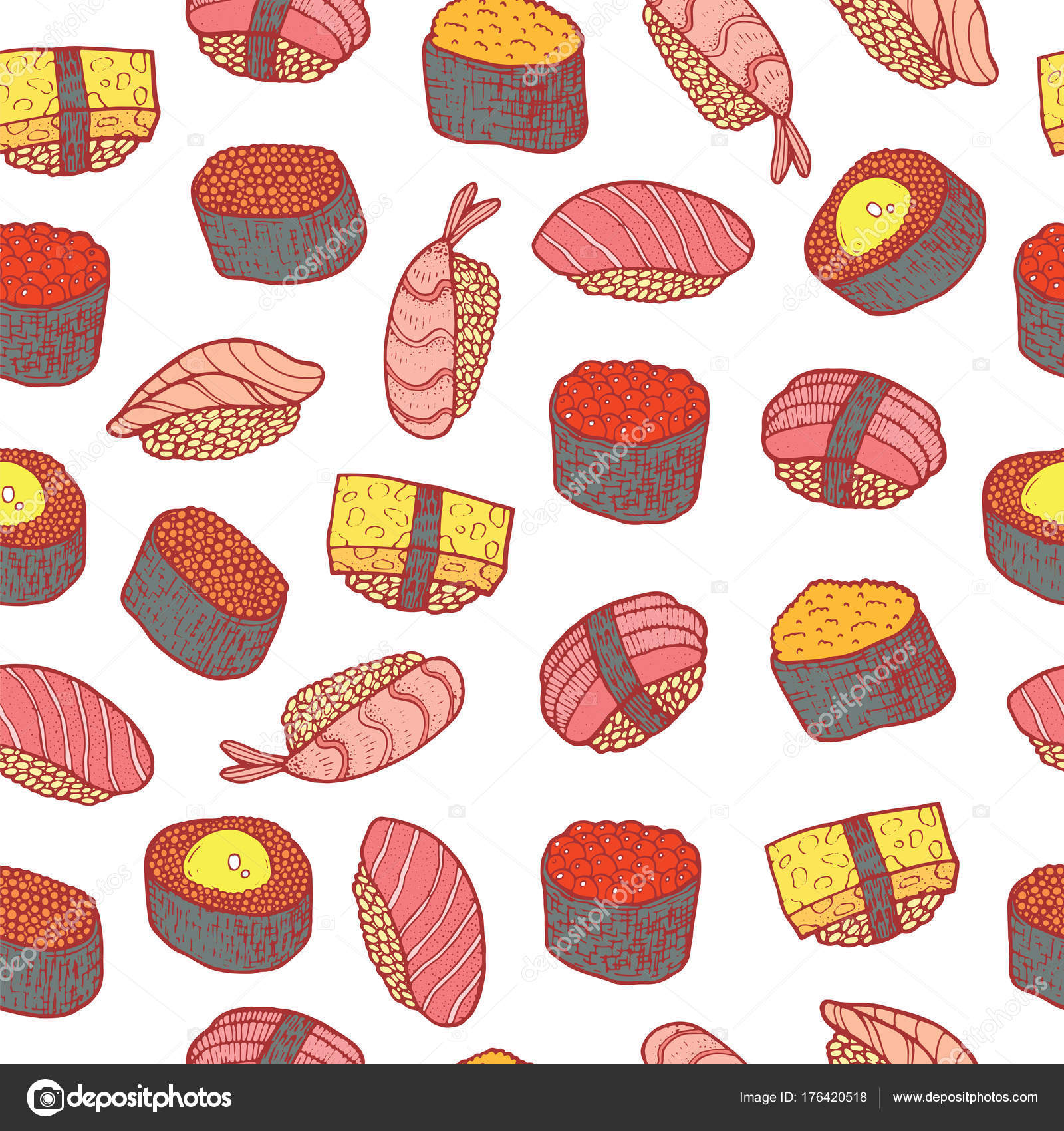 Sushi And Rolls Seamless Pattern Doodle Cartoon Color