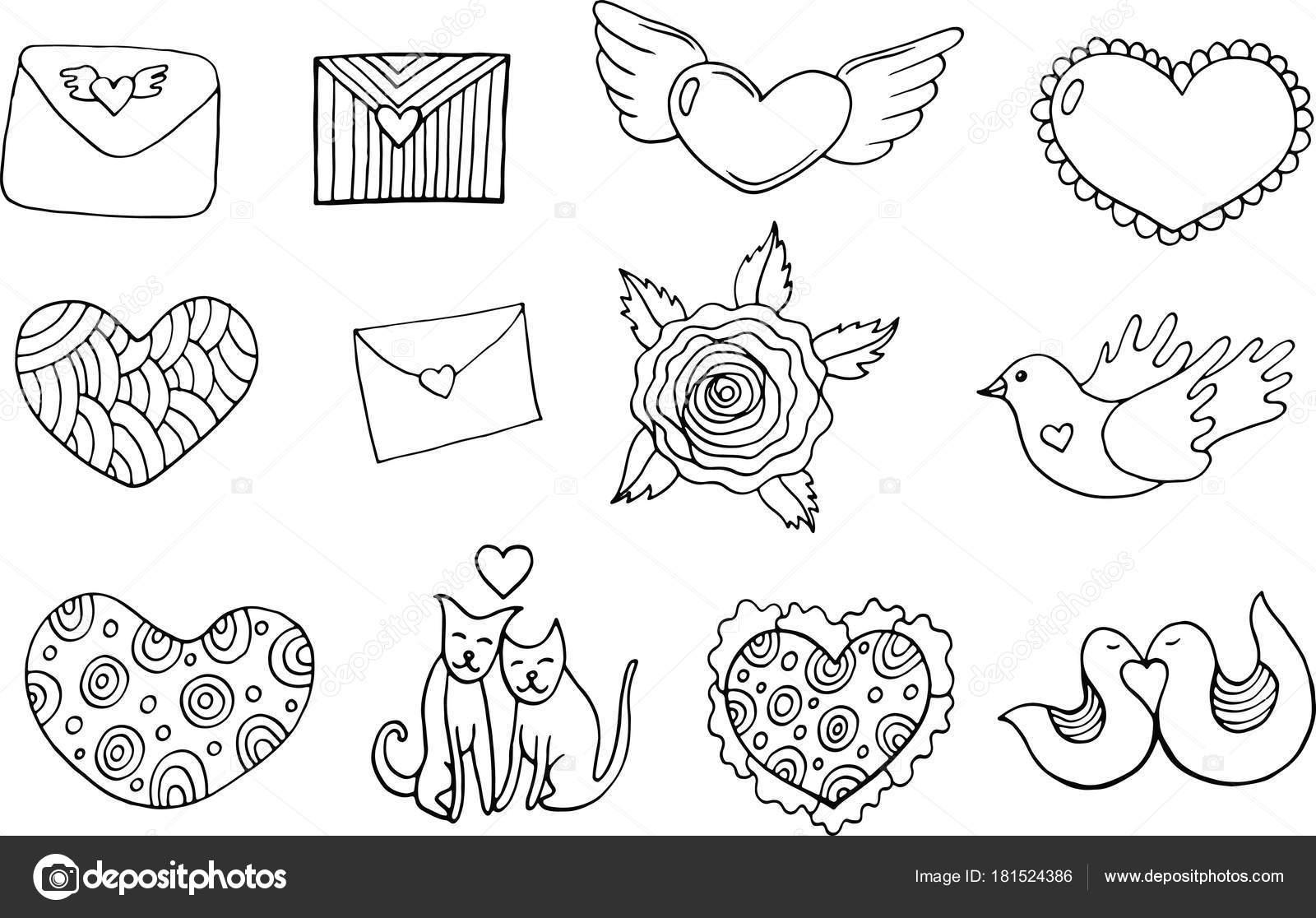 Etiqueta Engomada De Día Página Para Colorear De San Valentín S