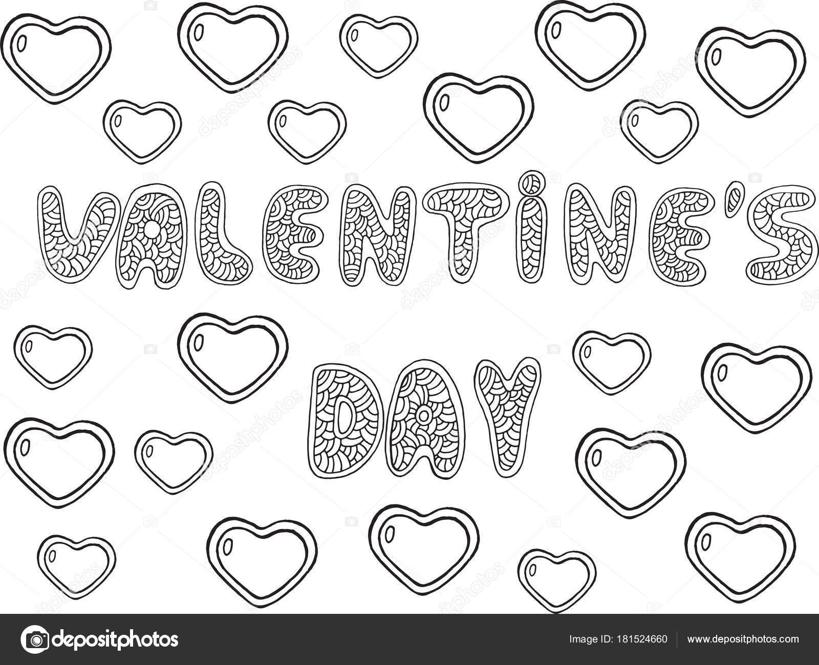 Valentines Day - Wort Schriftzug Malvorlagen. Doodle Cartoon h ...