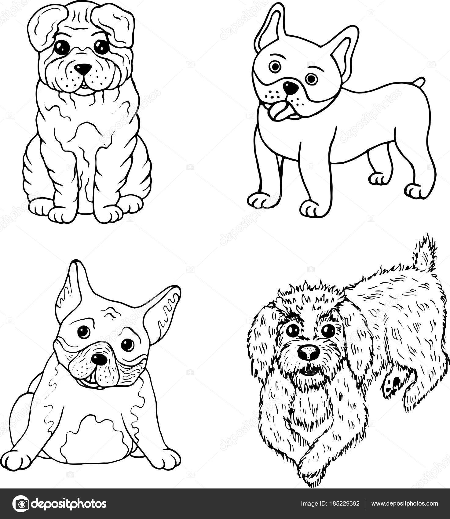 Cartoon dogs coloring page. Isolated set collection with doodle ...