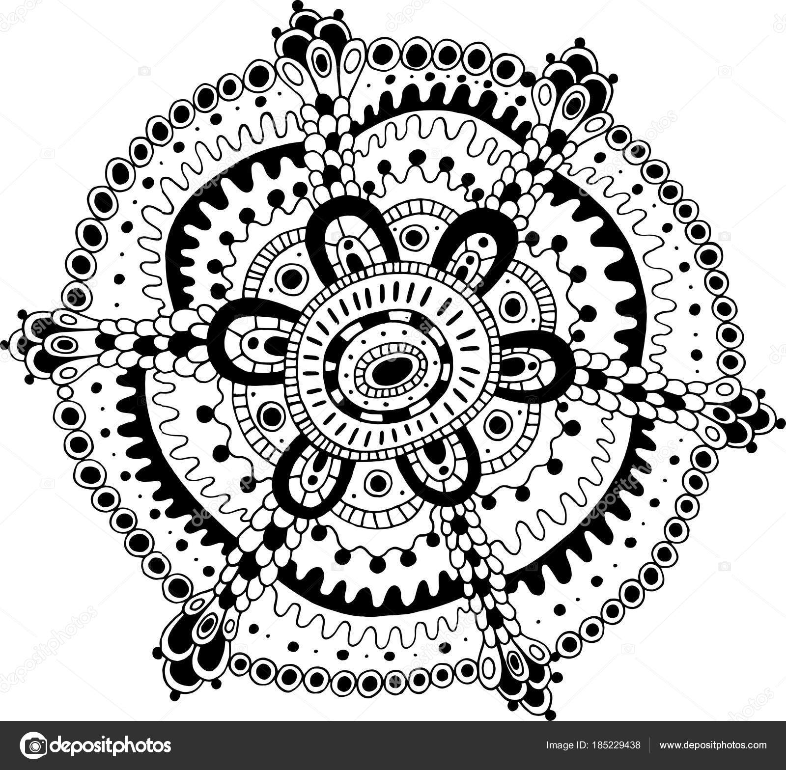 Doodle Mandala Coloring Page For Adults Cartoon Relax And Medit