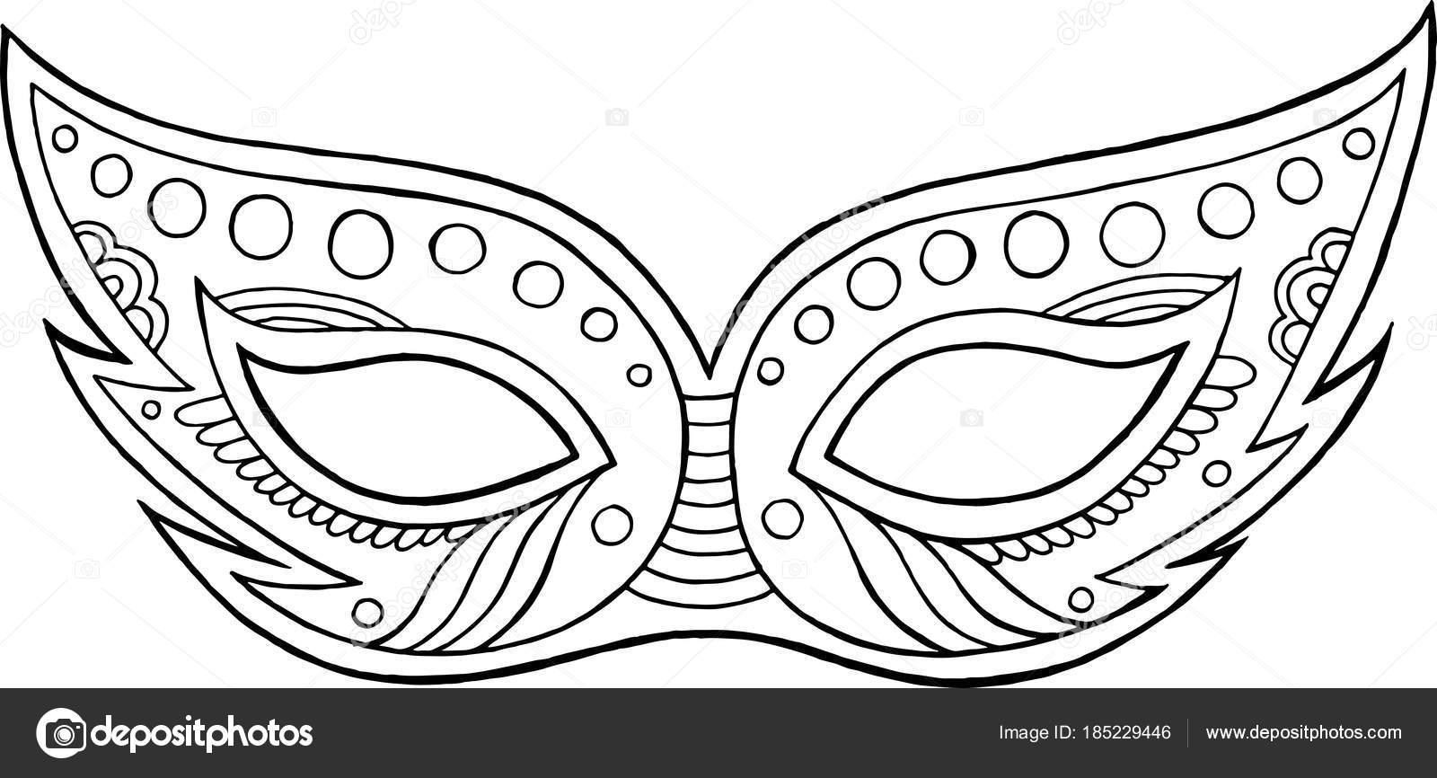 Máscara de carnaval - elemento aislado del contorno. Página para ...