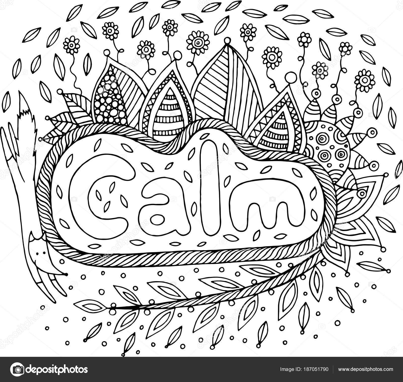 Página para colorear para adultos con mandala y la palabra calma ...