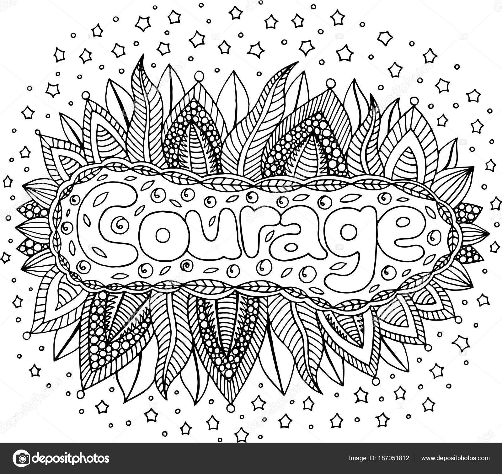 Malvorlagen für Erwachsene mit Wort Mandala und Mut. Doodle-l ...