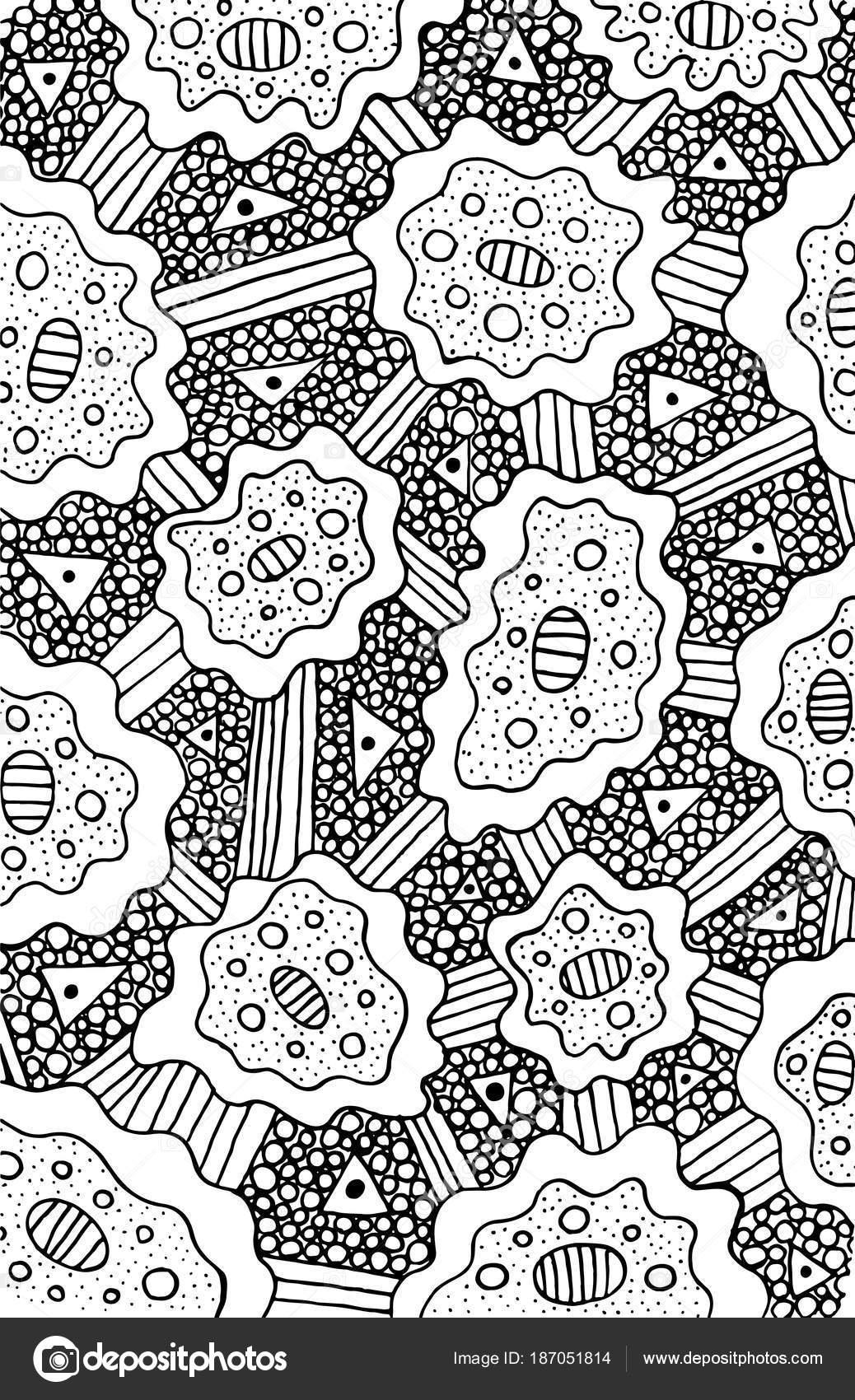 Página para colorear de Doodle para adultos. Psicodélico de fondo ...