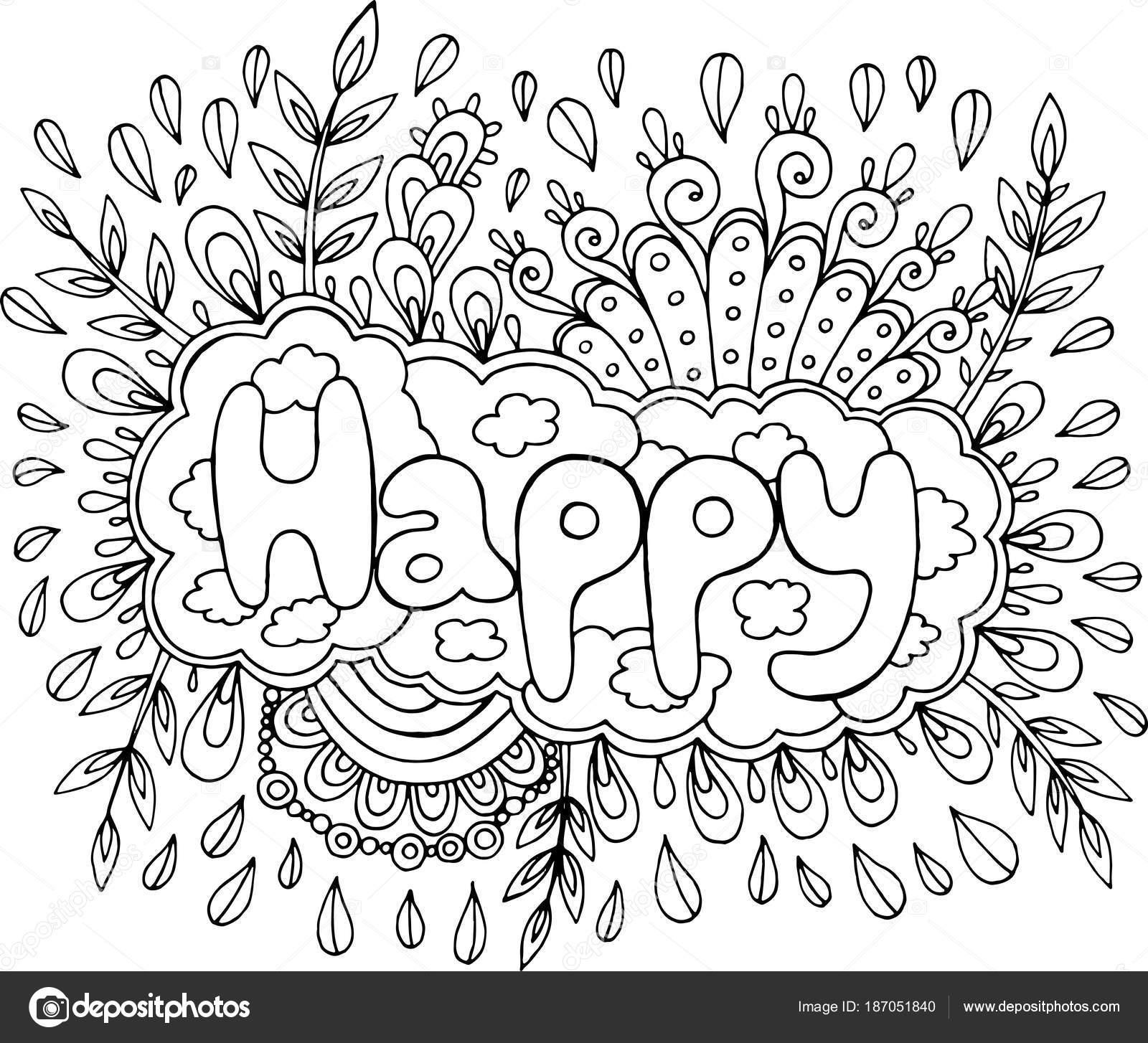 kleurplaat voor volwassenen met mandala en gelukkig word
