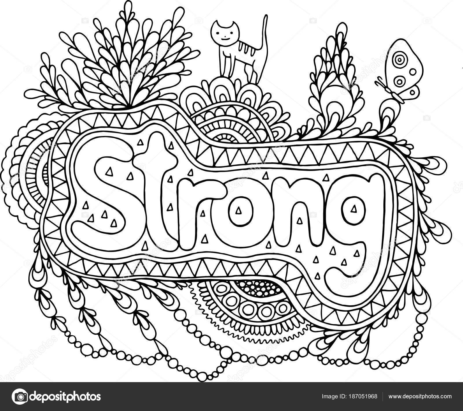 kleurplaat voor volwassenen met mandala en sterk woord