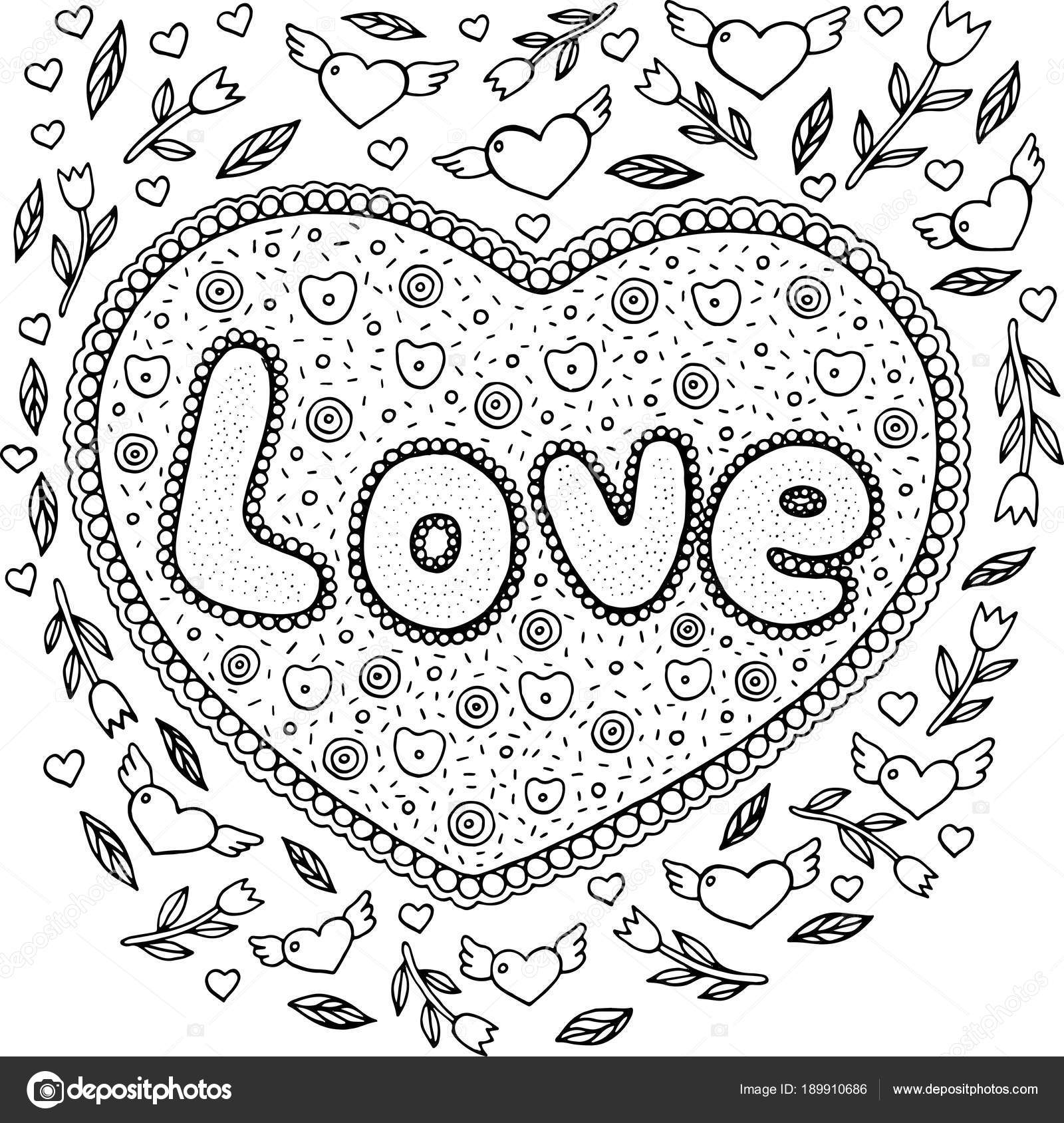 kleurplaat voor volwassenen met mandala en liefde woord