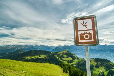 View point on top of mount Rigi with beautiful views on Alps in