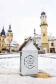 Fotografie Lucerna s nápisem, náměstí Snp v Banské Bystrici, Slovaki
