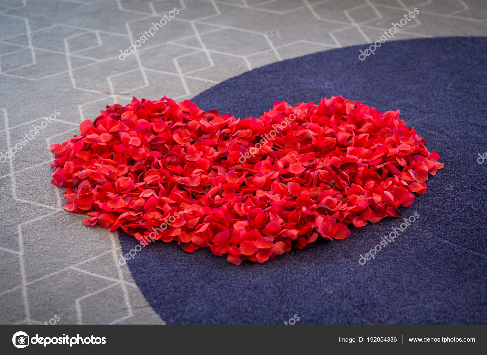 Big Heart From Red Rose Petals On The Carpet Wedding Ceremony