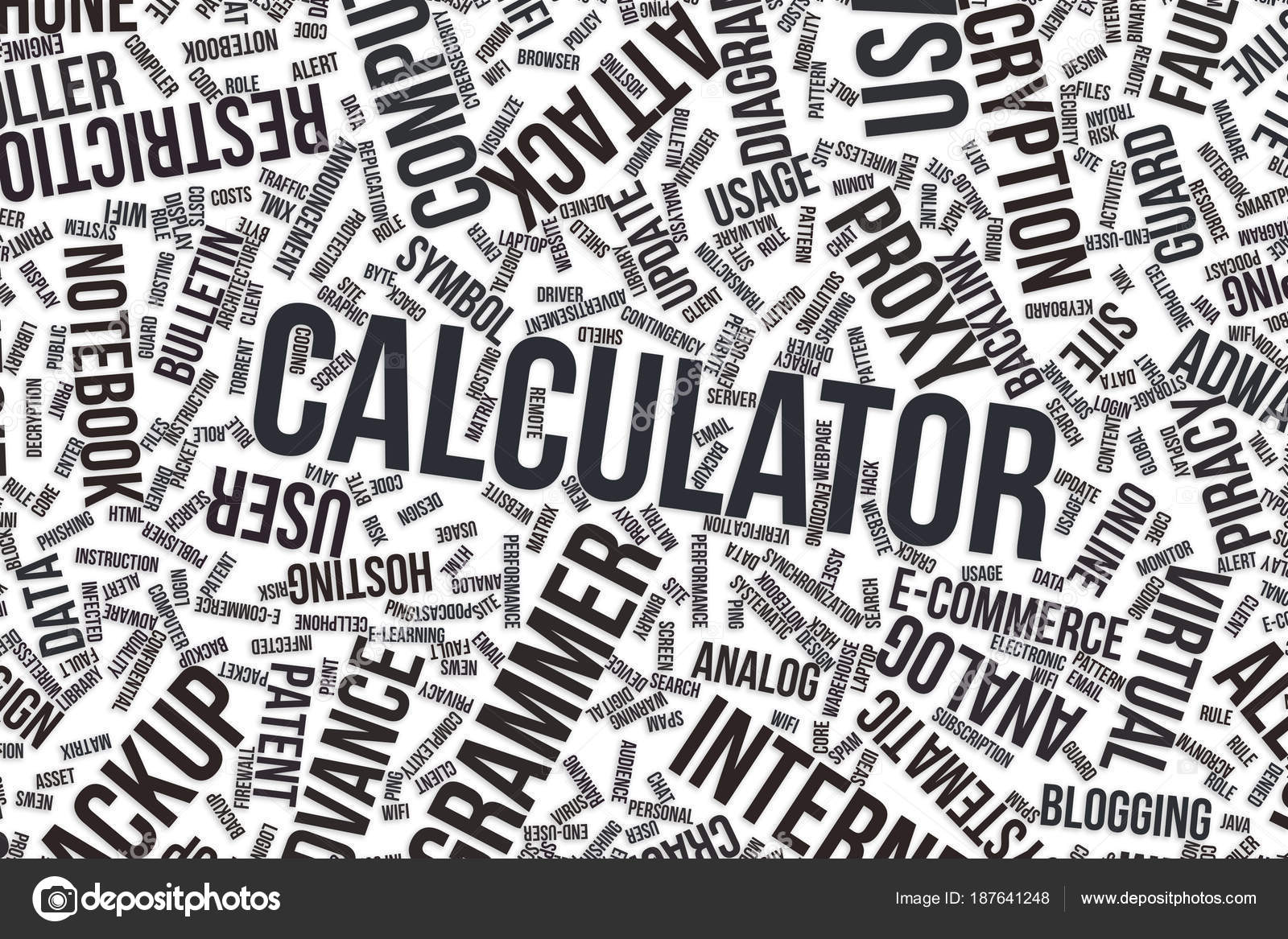 Calculator Conceptual Word Cloud For Business Information
