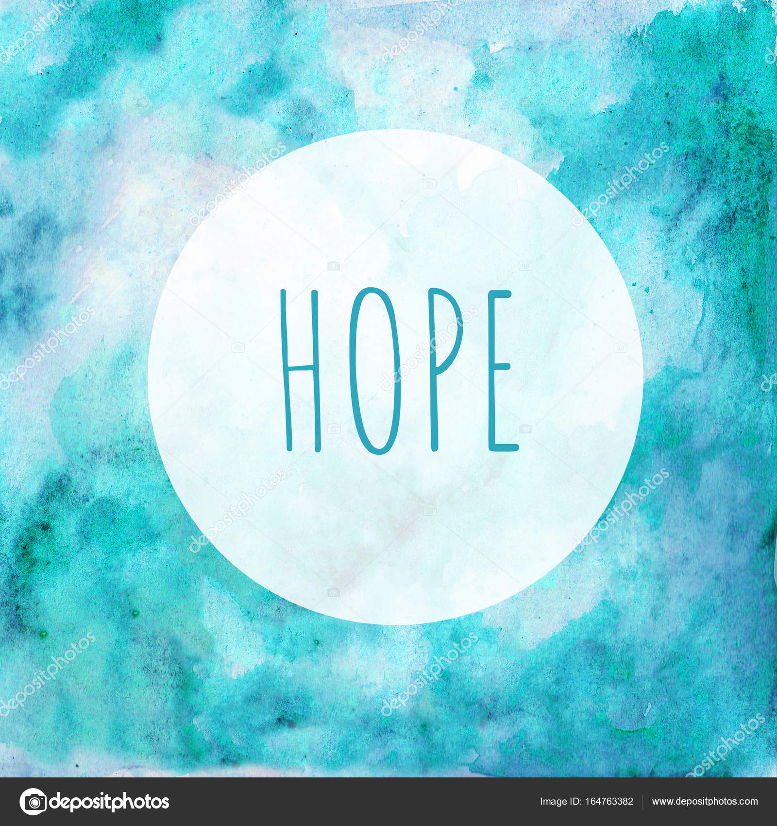 card hope in the round frame blue green watercolor background