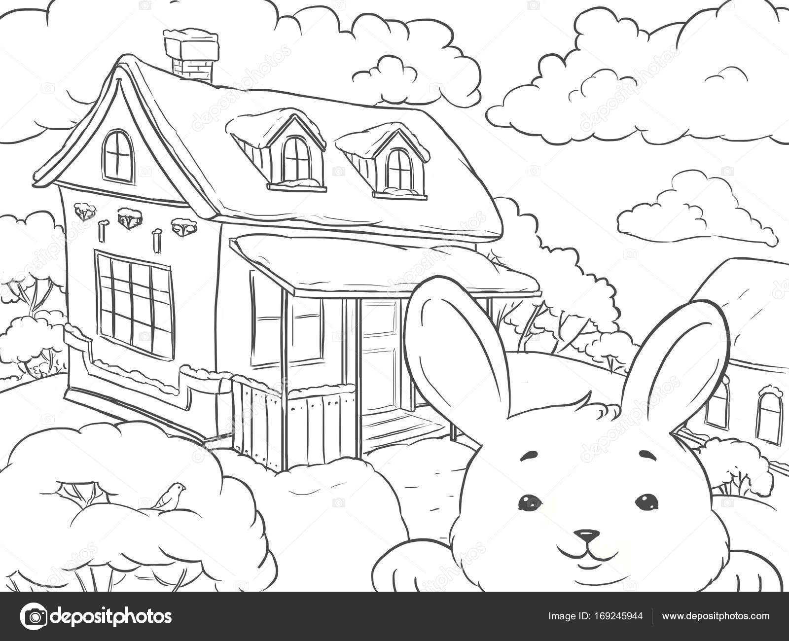 Line Art Coloring Page Landscape House Winter With Funny Rabbit