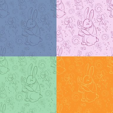 Seamless pattern Rabbits - Mother and child