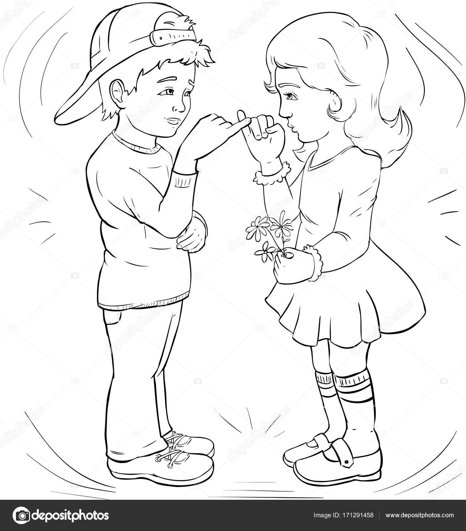 Boy and girl make friends make friends line art coloring page illustration for children photo by