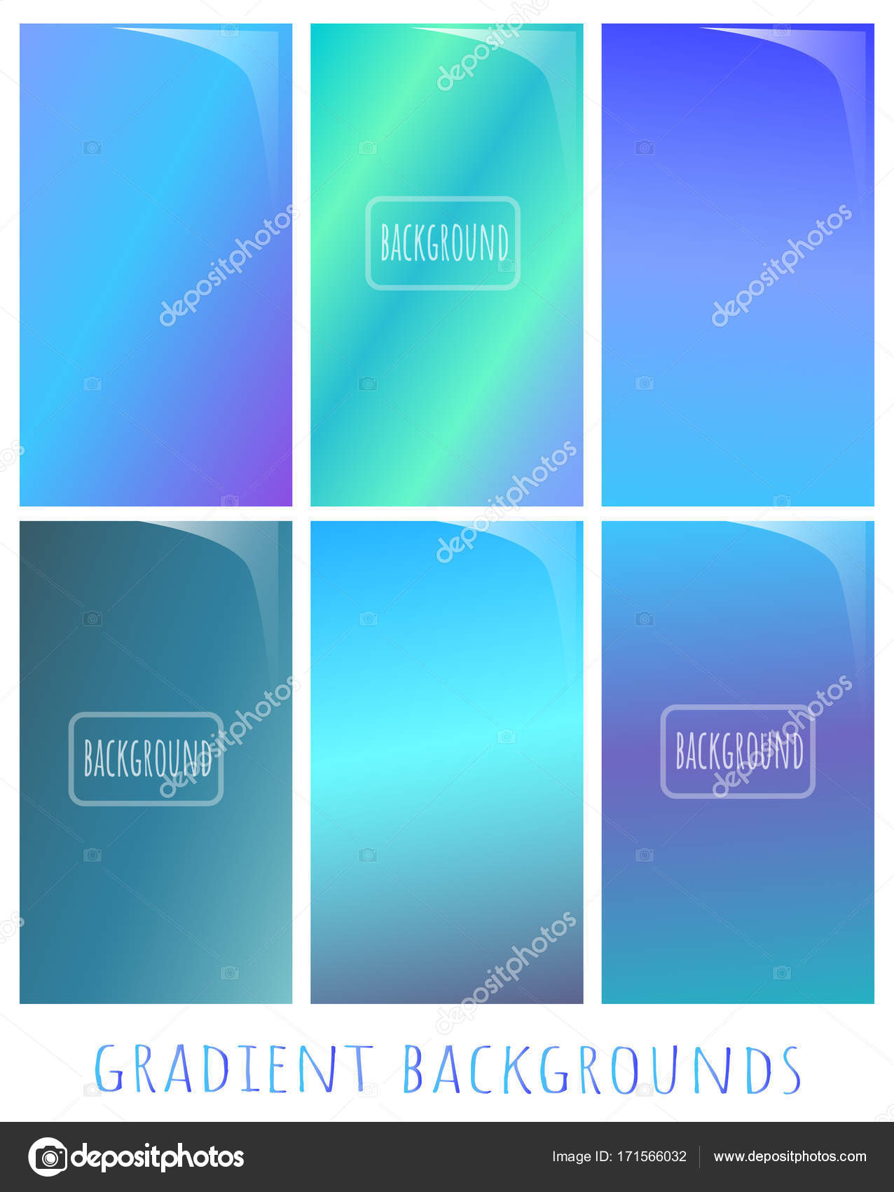 set of gradient vector backgrounds cold nuance winter colors