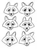 Fotografie Satz von Kontur Staats-und Wolf - Vektor Emotionen von wolf