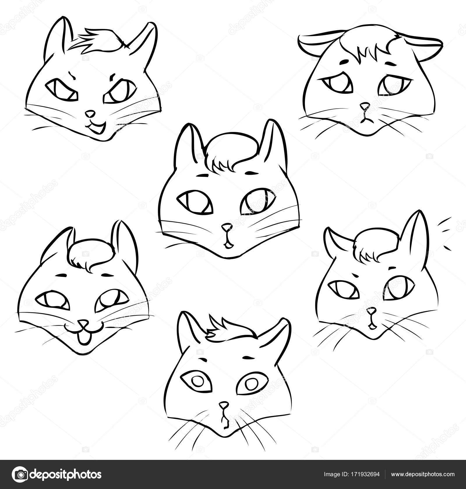 Strichzeichnungen. Malvorlagen Gefühle Katze — Stockvektor ...