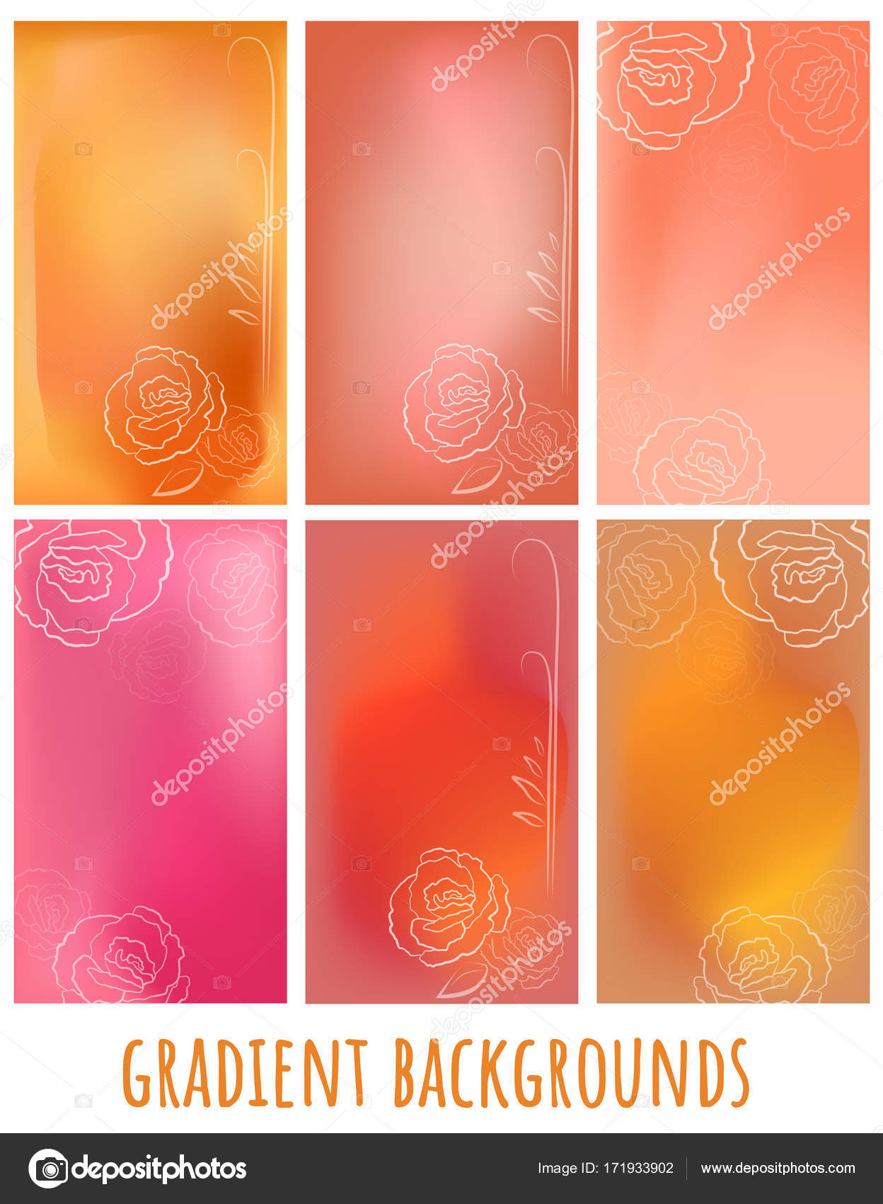 Set of mesh jelly gradient vector with rose for greeting card set of mesh jelly gradient vector with rose for greeting card website presentation m4hsunfo