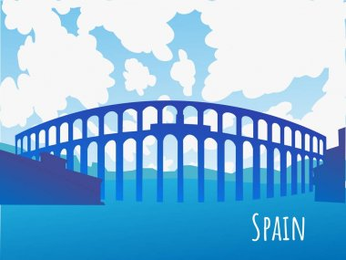 Vector silhouette of the Aqueduct of Segovia Spain - background