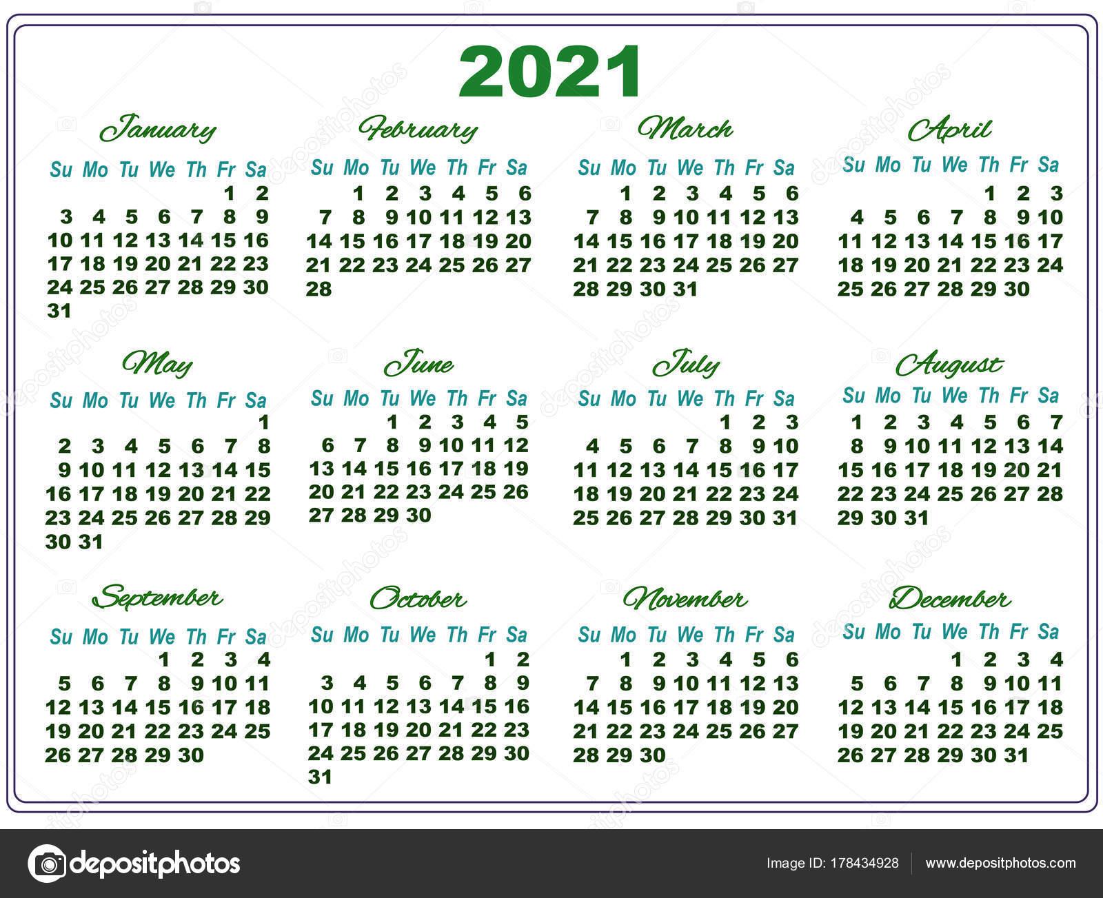 Calendrier 2021 Avec Semaine.Calendrier 2021 Avec Gros Chiffres Image Vectorielle