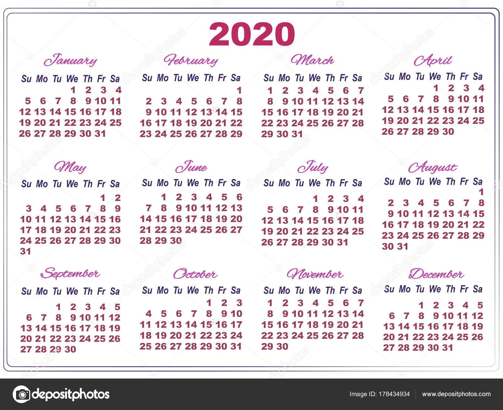 Calendario Del Ano 2020 En Espanol.Imagenes Calendarios Con Numeros Grandes 2020 Calendario