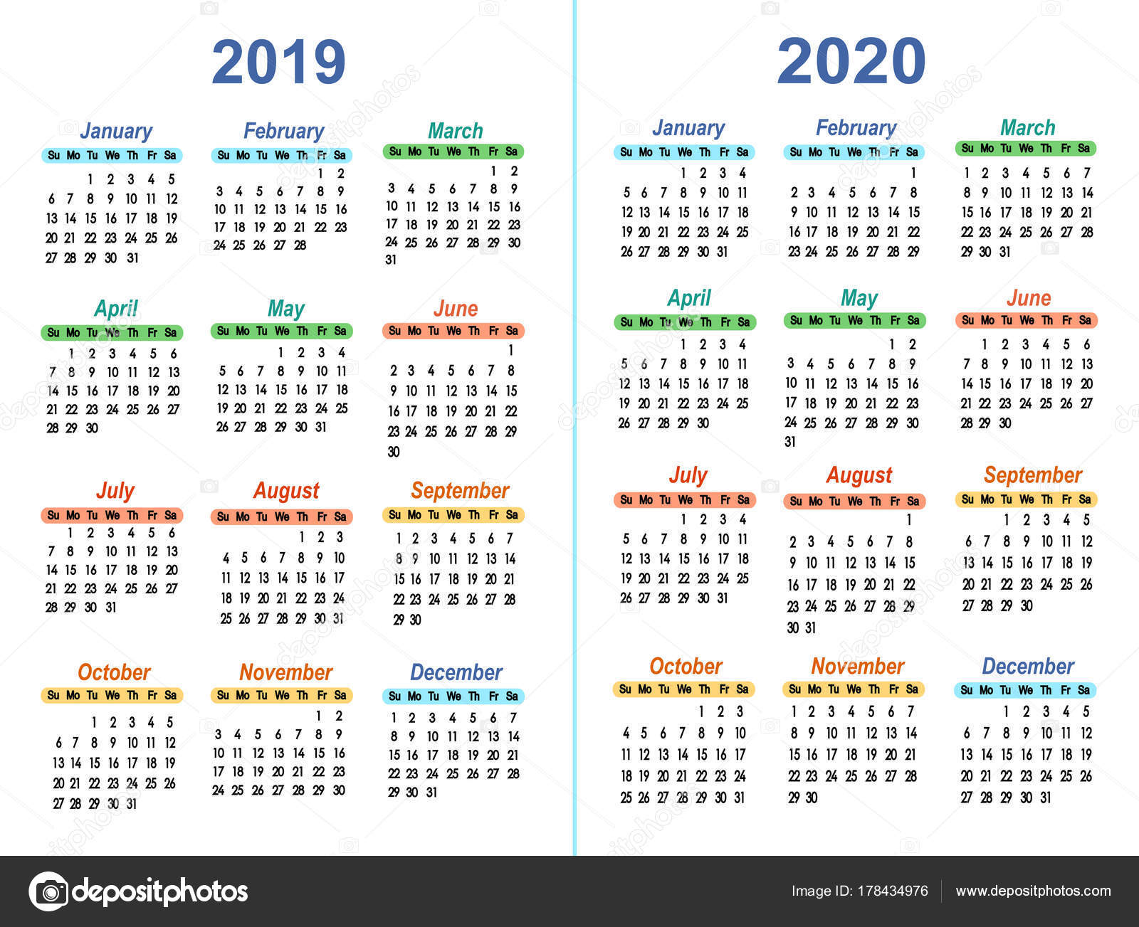 Calendario Annuale 2020 Italiano.Vettore Calendario 2019 Template Vettoriale Calendari