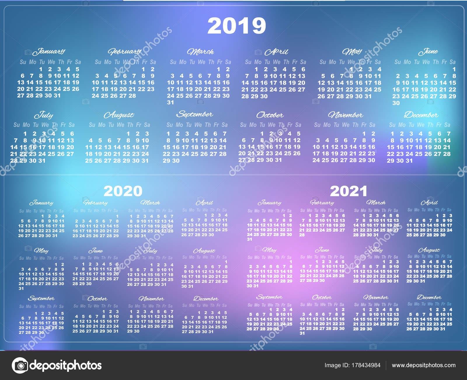 Temple Calendar 2020-2021 Set of White Calendars 2019 , 2020 and 2021 on mesh gradient ba