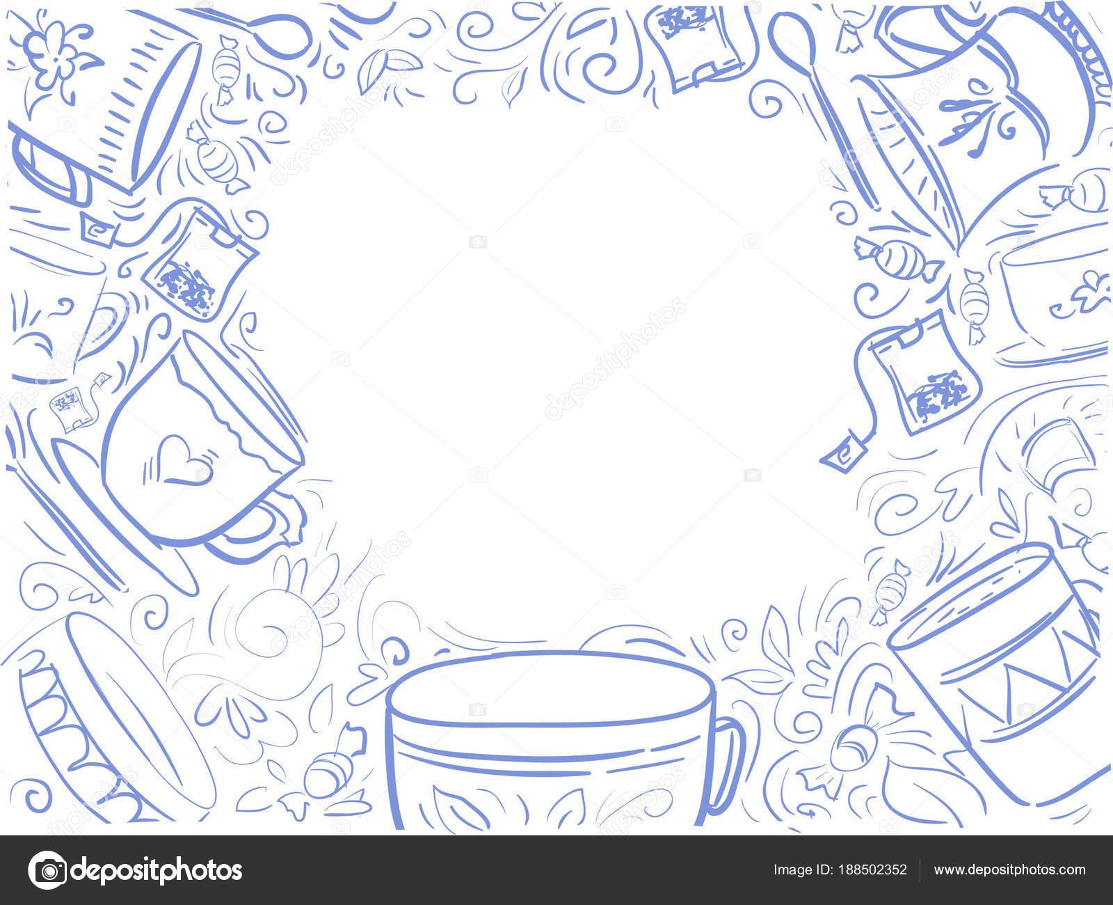 Fondo con texto azul hora de té - diseño de menú — Archivo Imágenes ...