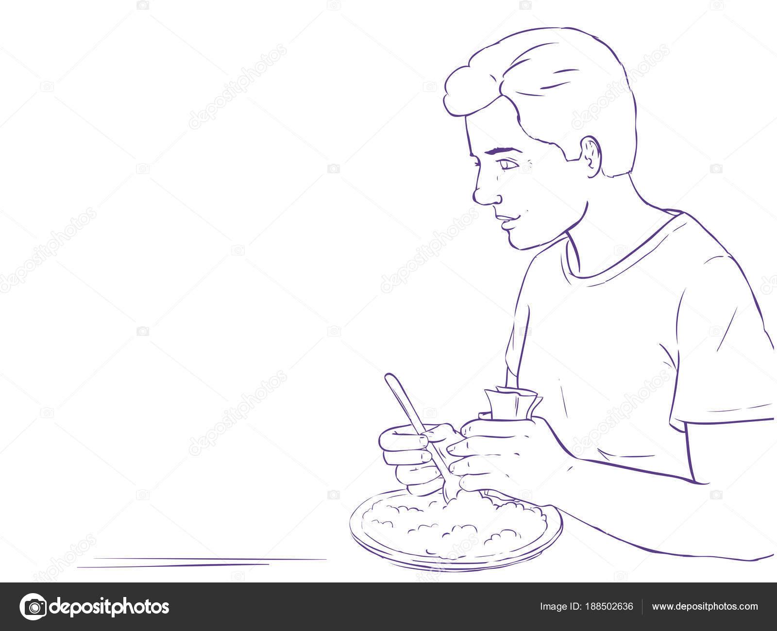 Colorear página - línea arte - hombre comiendo - marco de ...