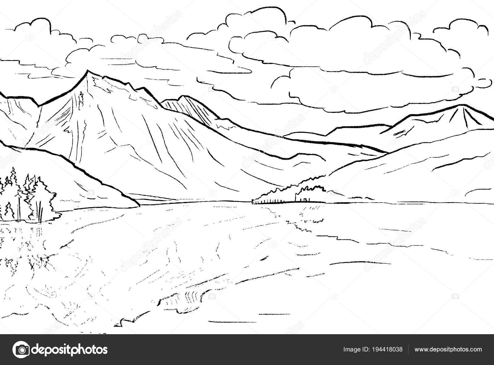 Gratis Kleurplaten Natuur.Kleurplaat Pagina Lijnwerk Natuur Bergen En De Reflectie In De