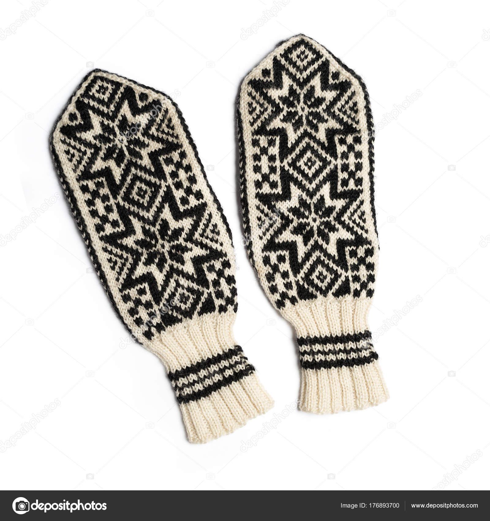 Mitones de punto para el invierno de la mano — Fotos de Stock ...