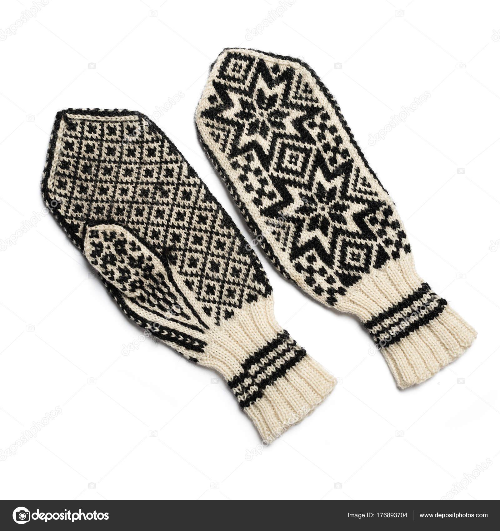 2d2449ebc89 Ručně pletené palčáky na zimu. Rukavice tradiotional norský vzor —  Fotografie od ...