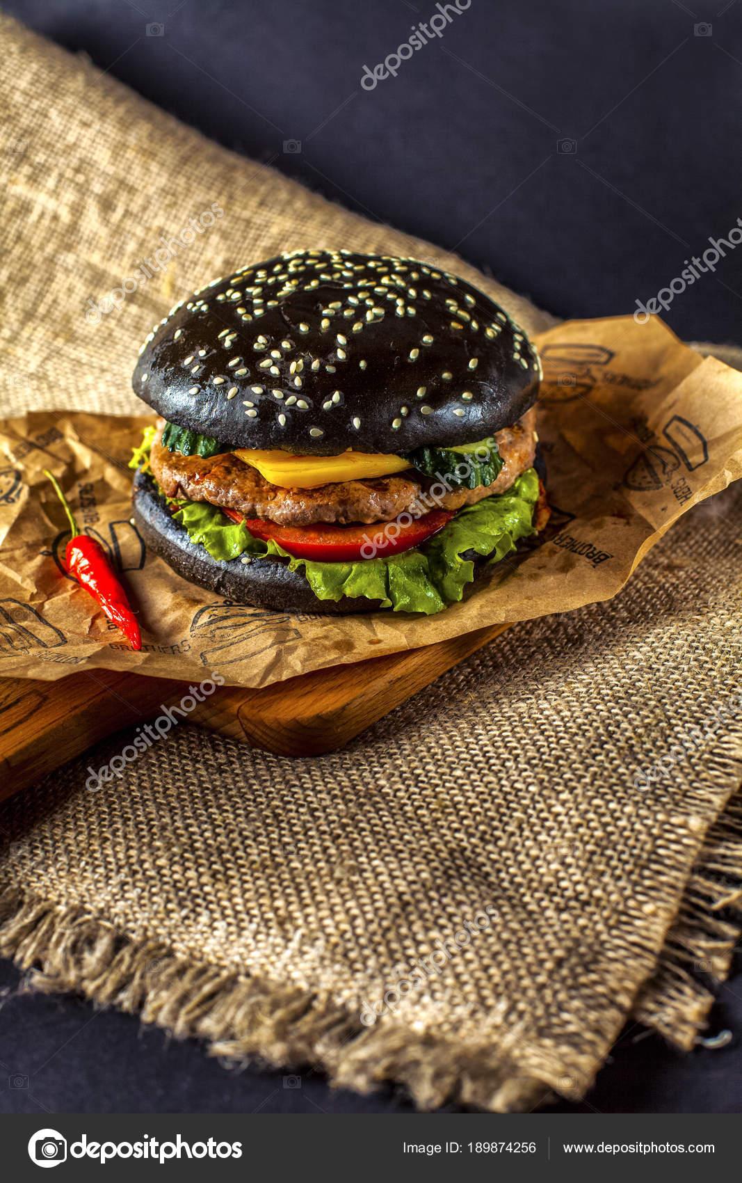 Black Burger Favourite Dish Lunch — Stock Photo © teshasem