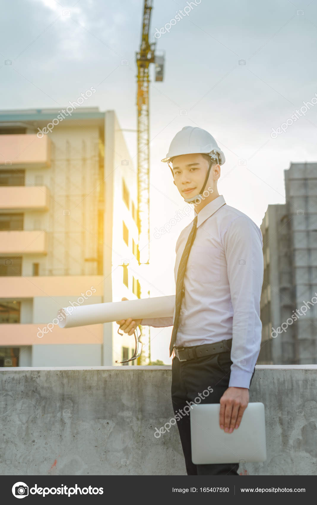 Smiling Young Architect Or Engineering Builder In Hard Hat With U2014 Stock  Photo