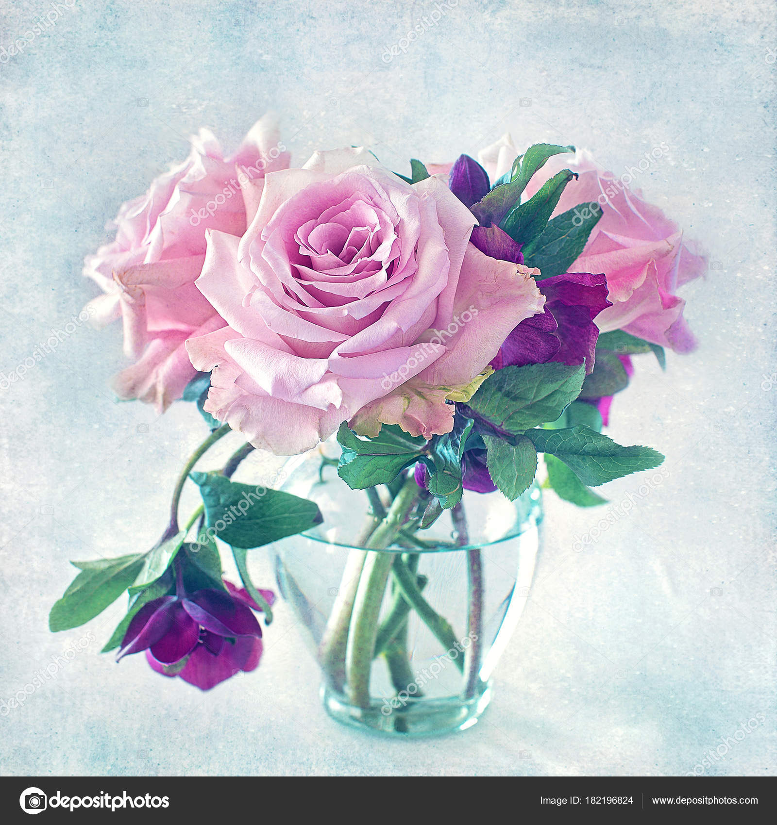 Close Floral Composition Pink Roses Beautiful Fresh Pink Roses Table