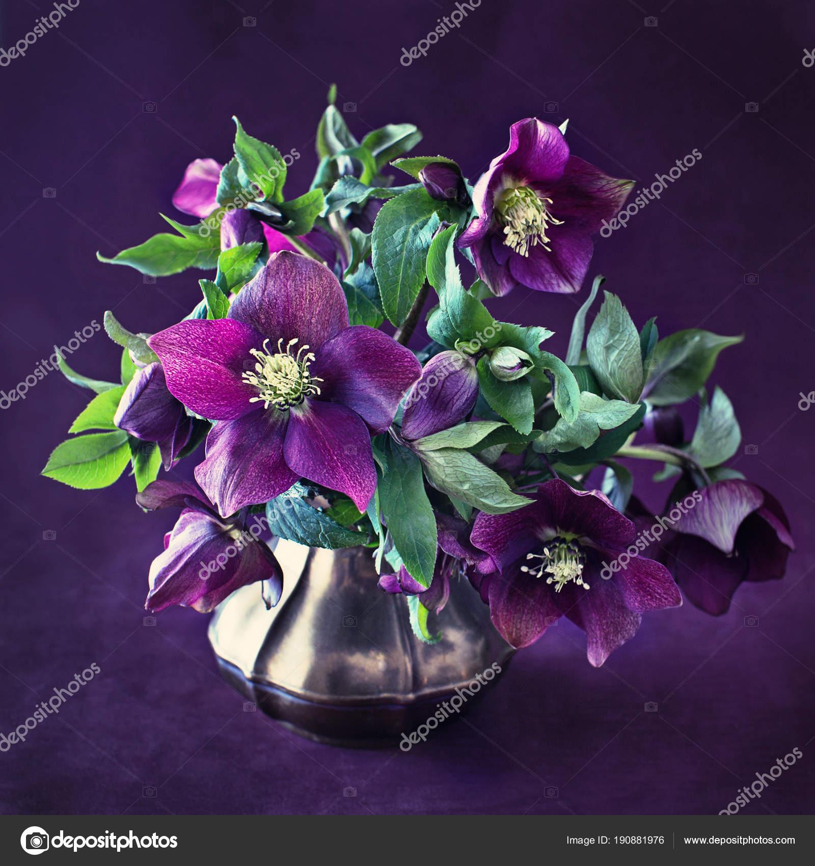 Beautiful Bouquet Purple Flowers Dark Background Vintage Style Grunge Paper Stock Photo C Ulchik74 190881976