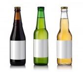 Set of beer bottles on a white background