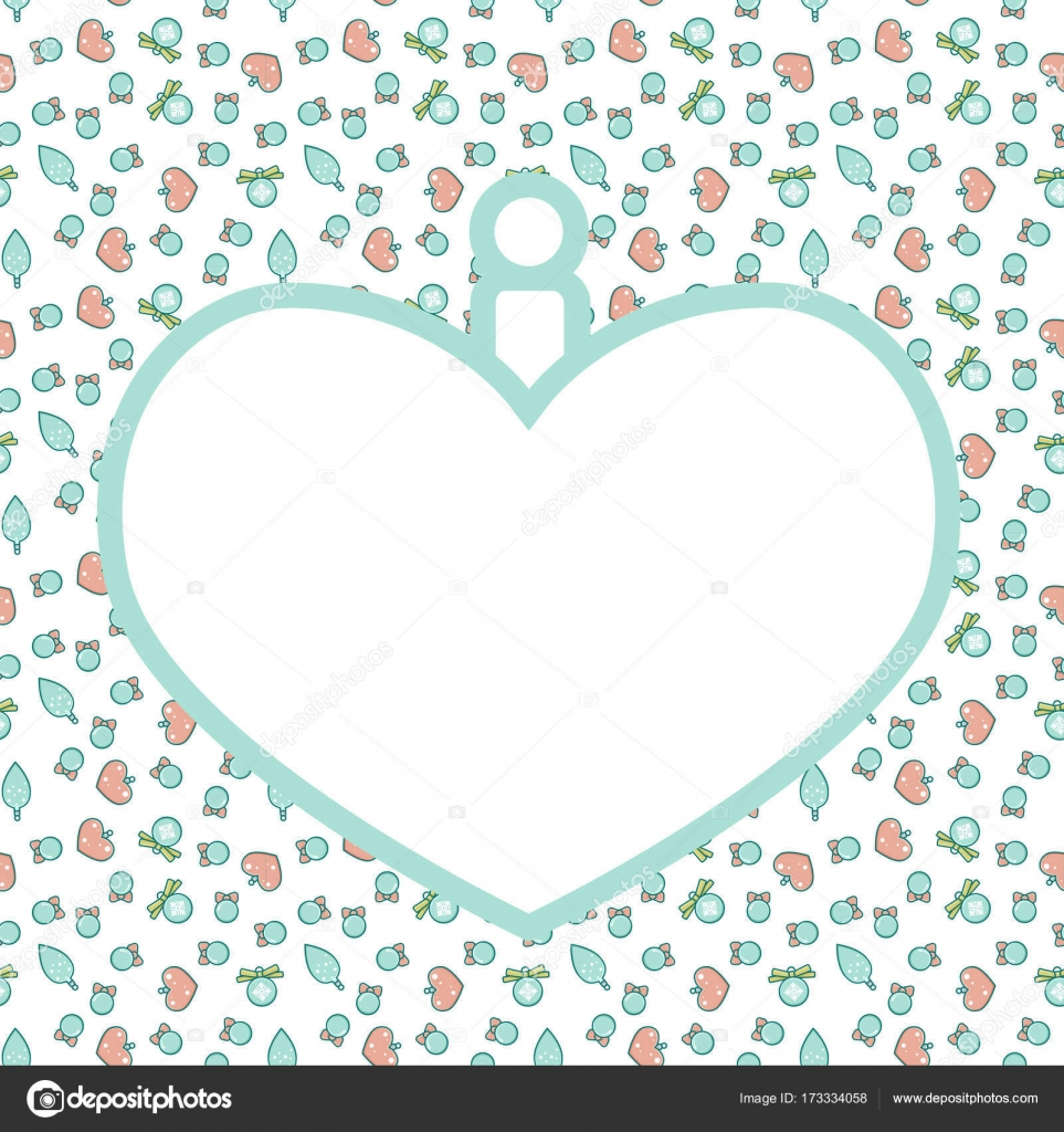 Christmas frame with pattern empty template for greeting card or christmas frame with pattern in shape of heart ball empty template for greeting card or invitation simple line art style vector by helgaknut stopboris Gallery