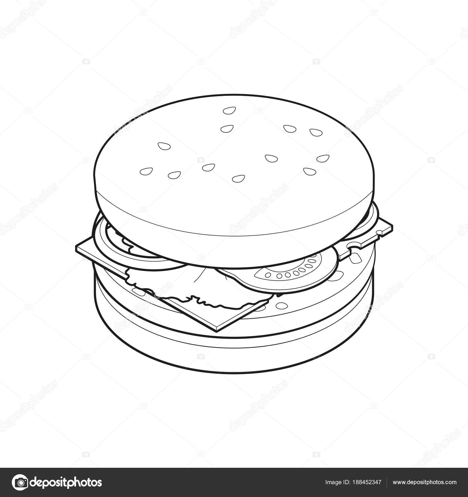 Burger Isometric Coloring Book Concept Unhealthy Food Fast Food