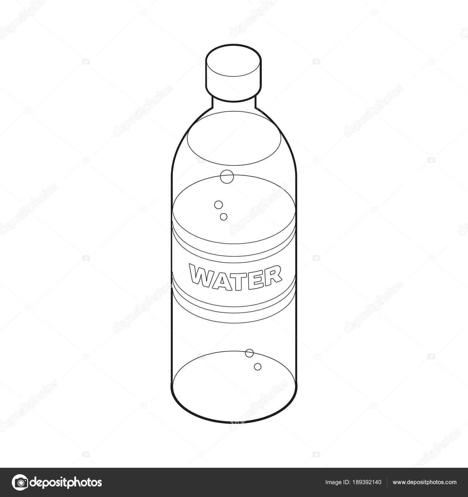 şişe Su Izometrik Stili Simgesini Boyama Kitabı Gıda Konsept