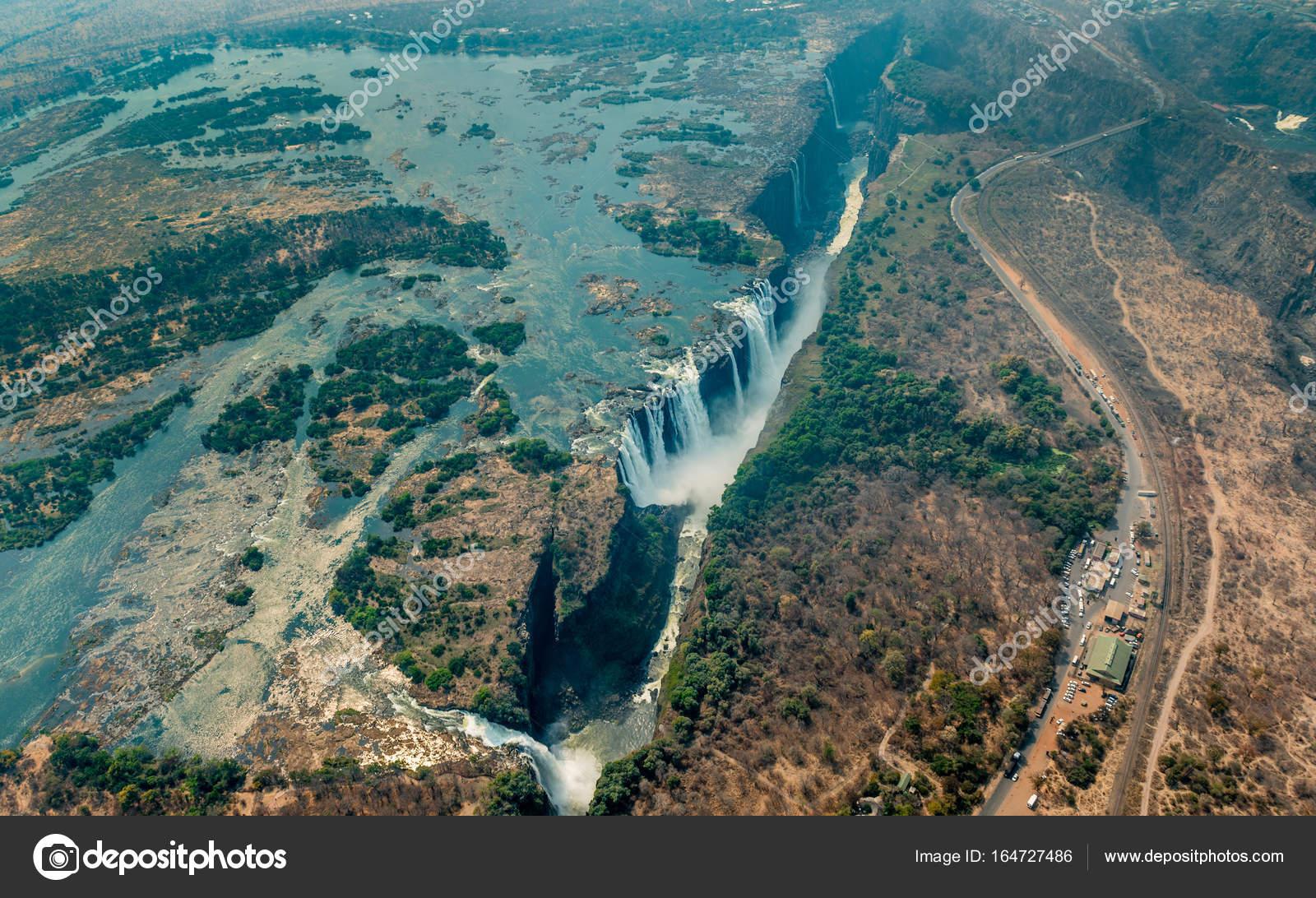 Victoria Falls At Drought Aerial Shot Stock Photo