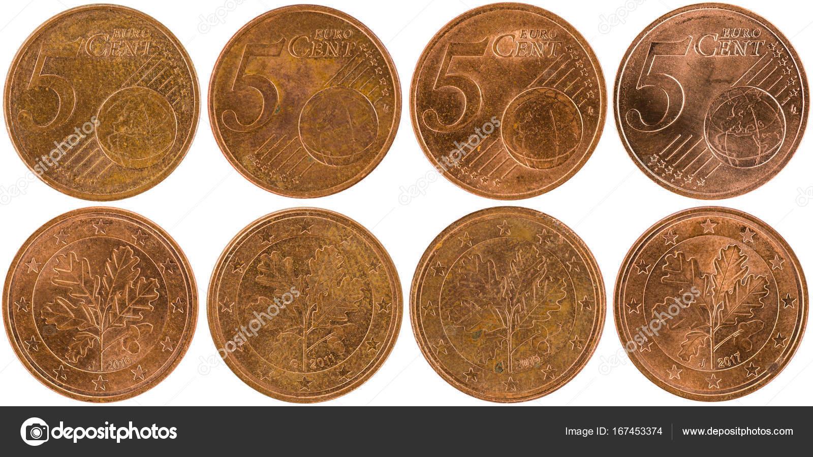 Einige Verwendet Europäische 5 Cent Münze Stockfoto
